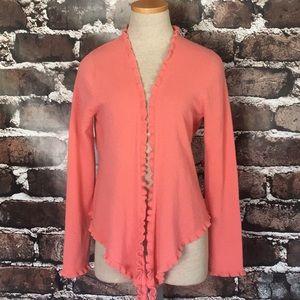 Garnet Hill Cashmere Cardigan Sweater Coral Small